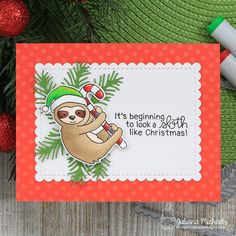 Sloth Like Christmas Card by Juliana Michaels featuring Newton's Nook Designs Slothy Christmas Stamp Set Christmas Sloth, Christmas Nails, Christmas Nail Designs, Christmas Projects, Sloth Drawing, Xmas Cards, Holiday Cards, Painting For Kids, Homemade Cards