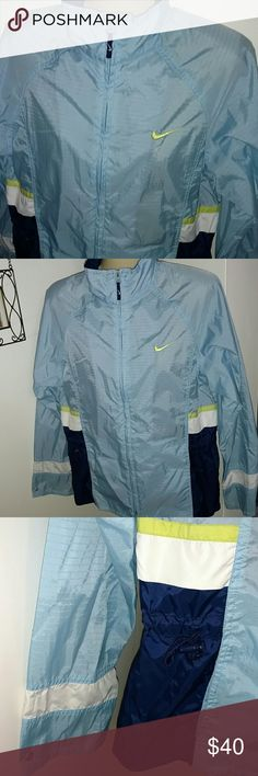 NIKE JACKET Design as Shown EXCELLENT CONDITION TOGGLE WAIST NAVY BLUE & POWDER BLUE W YELLOW ACCENTS Nike Jackets & Coats Utility Jackets