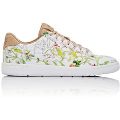 Nike Women's Tennis Classic Ultra QS Sneakers (560 RON) ❤ liked on Polyvore featuring shoes, sneakers, white, tennis sneakers, tennis trainer, leather sneakers, floral tennis shoes and leather low top sneakers