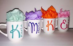 4 Personalized Mugs Custom Initial Name and Color Great Gift Favor Bridesmaid | eBay