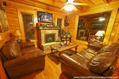 Wears Valley View -- You will enter the cabin into the spacious living room area with its leather furniture, big-screen television with cable service and DVD player, a queen-size sleeper-sofa and the cozy electric fireplace.