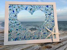 Sea Glass Mosaic, Sea Glass Art, Mosaic Art, Stained Glass, Sea Glass Beach, Mosaic Mirrors, Seashell Painting, Seashell Art, Seashell Crafts
