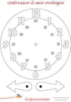 Benvenuti in Filastrocche.it! Filastrocche per tutti in Filastrocche.it Preschool Charts, Preschool Worksheets, Preschool Activities, Clock Worksheets, Clock Face Printable, Math Binder, Clock Craft, Learn Arabic Online, Kids Planner