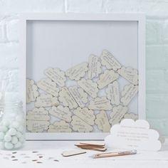 Cloud Drop Top Frame Guest Book - Hello World