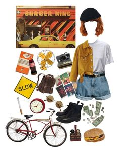 """Stop for a quick bite"" by hunneyboo ❤ liked on Polyvore featuring Emerson, Dr. Martens, Polaroid, Retrò, TAXI, Vagabond Traveler, Improvements, Schwinn, Hermès and WithChic"