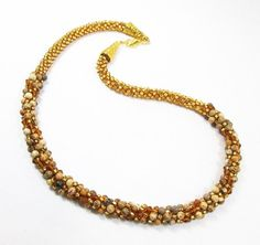Gold and Jasper Kumihimo Necklace