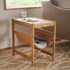 Leather Sling Side Table - Natural Oak | west elm