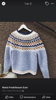 Nordic Sweater, Men Sweater, Beaded Collar, Pullover, Knitting Designs, Clothing, Sweaters, Handmade, Inspiration