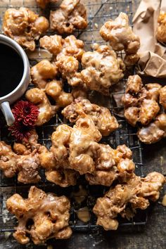 Cinnamon Spiced Apple Fritters with Vanilla Coffee Glaze...if fall had a scent this would be it...so get some apples and make these fritters!