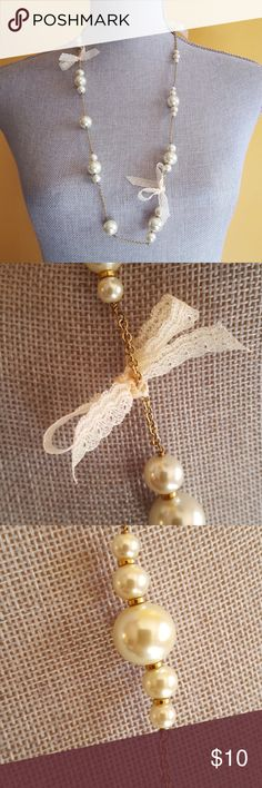 vintage j crew necklace from the 90's vintage j crew necklace from the 90's so sweet pearls and lace bows Jewelry Necklaces
