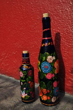 Elaborately painted blue bottles--bought on the streets of Mexico City.