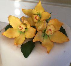 Custom Order Birthday Edible Sugar Vanilla Orchid Cake Topper Spray Arrangement by SweetIdeaFlowers on Etsy