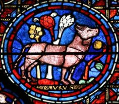 Chartres, cathedral, stained glass window with the labors of the months and the zodiac Original photo by courtesy of sacred destinations (Holly Hayes) Medieval Stained Glass, Stained Glass Angel, Stained Glass Windows, Taurus, Art Roman, Age Of Aquarius, Medieval World, Window Art, Gothic Art