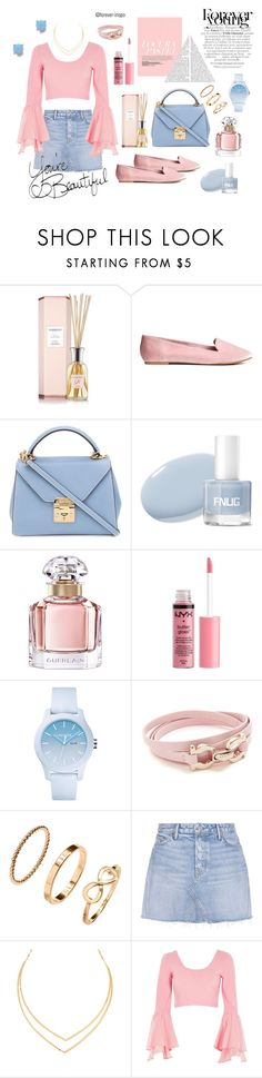 """""""Pink and Blue"""" by forever-inspo ❤ liked on Polyvore featuring Mark Cross, Guerlain, Charlotte Russe, Lacoste, Salvatore Ferragamo, H&M, GRLFRND, Lana, River Island and Vera Bradley"""