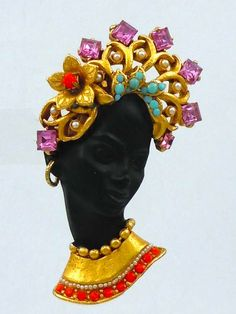 NUBIAN - ASKEW LONDON BLACKAMOOR/50'S SIREN BROOCH & CRYSTAL ACCENTS