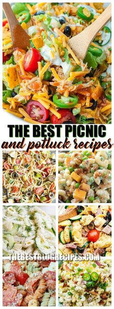 The Best Picnic and Potluck Recipes are made using quick and easy ingredients. They are budget friendly and make the perfect side dishes for all of your picnics, potlucks, and church gatherings! Best Potluck Dishes, Church Potluck Recipes, Easy Potluck Recipes, Picnic Side Dishes, Healthy Potluck, Work Potluck, Potluck Salad, Side Dishes For Bbq, Potluck Ideas