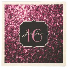 Beautiful Pink glitter sparkles Sweet 16 Paper Napkins by #PLdesign #PinkSparkles #Sweet16