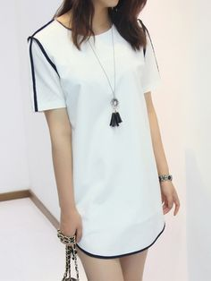 White Contrast Chiffon Dress
