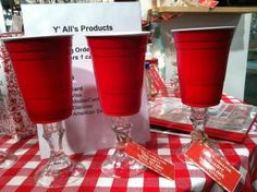 Red solo cup wine glasses - dollar store candlesticks, red solo cups and a little hot glue and waaaalaaa