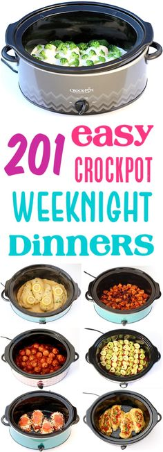 Crockpot Dinners Easy Recipes!  Wondering what to make for dinner?  Check out this HUGE list of family-favorite suppers... perfect for busy weeknights!  Add some to your menu this week!