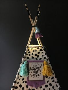 """Handmade Oversized doll teepee for 18"""" dolls. Deluxe set features teepee, unicorn 🦄 banner bunting, tassels and fur rug. Vintagekandyliving.etsy.com"""