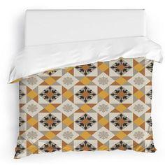 Kavka Diamond Tiles Duvet Cover Size: Full/Queen, Color: Tan/Yellow/Brown/Gray