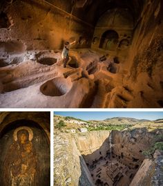 The Eskigümüş rock cut monastery off the Kayseri-Niğde road near to the city of Niğde in Turkey. Eskigümüş is famed for having what is believed to be the only fresco with a smiling Theotokos.
