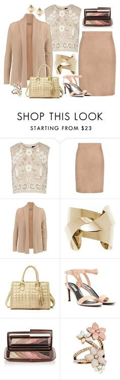 """Peach and Gold"" by cindiawb ❤ liked on Polyvore featuring Needle & Thread, Tom Ford, N.Peal, Balenciaga, Hourglass Cosmetics, Accessorize and Valentino"