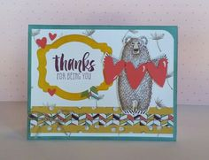 Bear Hugs from Stampin'up is beyond adorable!   This is fast becoming my favorite from Stampin'up's 2016 Occasions catalog.