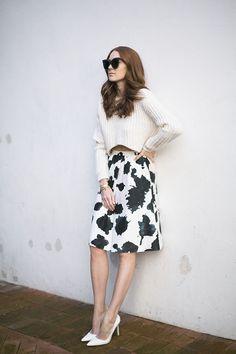 White cropped knit,