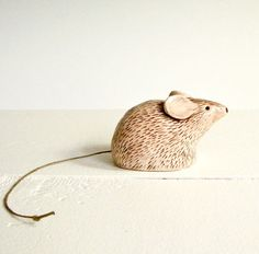 Mouse Sculpture with String Tail in Porcelain via Etsy