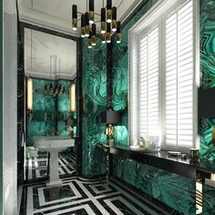 Malachite paired with graphic black & white in a bathroom wow