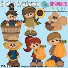 Hello Autumn Digital Clipart Clip art for scrapbooking Kids Scrapbook, Scrapbook Paper, Scrapbooking, Scrapbook Embellishments, Hello Autumn, Cute Cards, Big Eyes, Little People, Paper Piecing