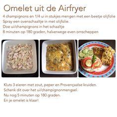 Omelet uit de Airfryer. 180 graden, 8 + 5 minuten. AK