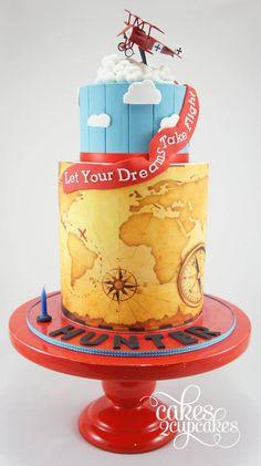 Cakes 2 Capacakes | vintage plane themed 1st birthday cake