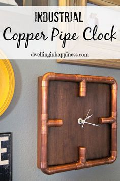 Industrial Copper Pipe Clock is featured in Bowdabra Feature Friday Favorite Five Cool Home Decor and Gift Items. Copper Furniture, Pipe Furniture, Industrial Furniture, Furniture Vintage, Pipe Decor, Diy Clock, Pipe Shelves, Industrial House, Industrial Pipe