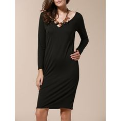 Stylish Long Sleeve Scoop Collar Pure Color Women's Slimming Dress — 13.18 € Size: XL Color: BLACK