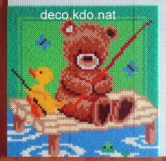 DECO.KDO.NAT: Perles hama: tableau nounours et canard à la pêche