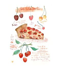 Cherry clafouti recipe French cake Watercolor painting 11X14 poster Food print Kitchen decor Bakery illustration Red cherries summer fruit. $38.00, via Etsy.
