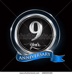 Celebrating 9 years anniversary logo. with silver ring and blue ribbon.