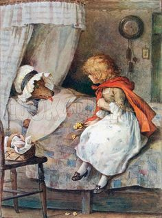 Little Red and the Wolf by William Henry Margetson.  My Mother read to me a lot, and i loved every minute of it.  This and the 3 Little Pigs were my favorite stories.  By the time I went to school I knew every nursery rhyme by memory.