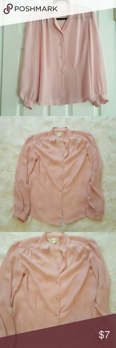 Pale pink button down sheer blouse Long sleeve sheer blouse. Color is pale pink. Veru sheer so a cami is a must under this blouse. Sold as is which is why this is priced very low. Tops Blouses