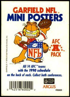 1990 ARGUS GARFIELD AFC MINI POSTER HEADER CARD EX+NM FREE SHIPPING