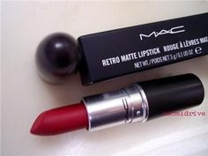 All time favorite red. Ruby Woo by Mac. Matte finish, with blue undertones to make teeth look whiter..gorgeous!!