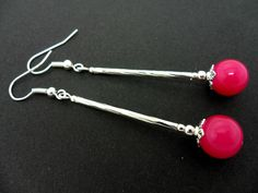 A Pair Of Long Dangly Pink Jade Bead Earrings.. #diyjewelry