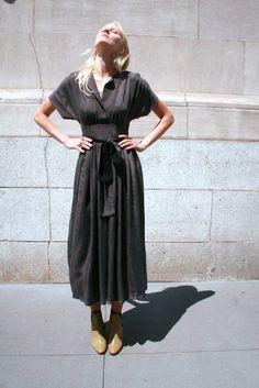 no. 6 kimono dress in cupro cement