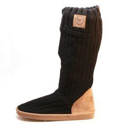 Victoria S Secret 54 Pink Brand Knit Slipper Boots Mukluks M 7 8 Black