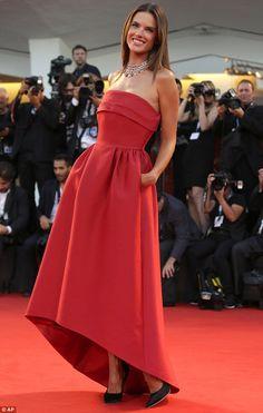 2014 Venice Festival Alessandra Ambrosio in a red Alberta Ferretti strapless high low gown paired with black Salvatore Ferragamo satin pumps