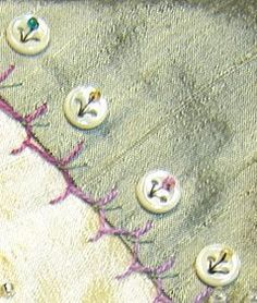 Here's a great way to attach buttons to your project. You will need a four (4) hole button, thread - I use green to resemble the stem and le...