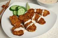 Coconut Curried Chicken Fingers with Red Chili Dipping Sauce